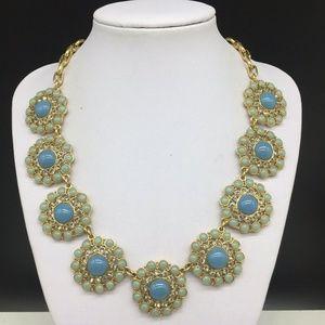 J CREW Blue Flower Rhinestone Necklace JCREW